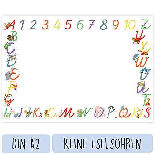 NEU Schreibtischunterlage Kinder (Papier A2 Groß - Tiere - 25 Blatt) - Schreibunterlage zum Schreiben lernen mit ABC Buchstaben und Zahlen - Süßes Geschenk zum Schulanfang für Mädchen und Jungen