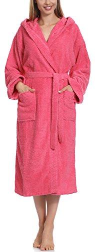 Ladeheid Peignoir de Bain Éponge 100% Coton Femme LA40-102 (Rose (M13) (Grammage 450), XXL)