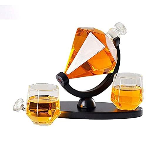 Decantador de Whisky Juego de decantador de Whisky de Diamante Decantador de Licor con 2 Tazas de Vidrio Soporte para Botella de Vino Artesanal Decantador Juego de Vino