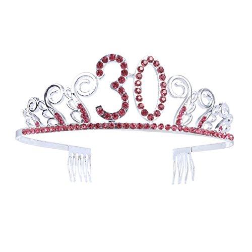 Frcolor Couronne Anniversaire 30 Ans Tiare Diadème Princesse avec Peigne Strass Cristal Argent Rouge