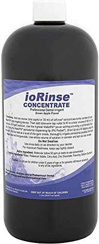 Iotech International ioRinse Dental Irrigation Solution - Concentrated Irrigant Fluid for Cleansing Above and Below Gums, Deep Pockets, & More - Alcohol Free, Fluoride Free - Dental Cleaning Supplies