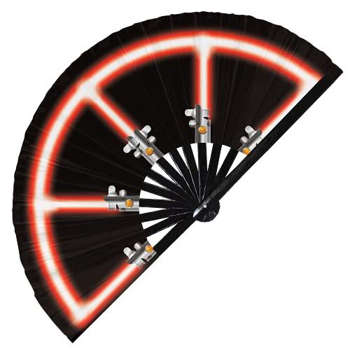 Abanico de luz plegable de bambú de mano Galaxy Laser Sword Fan Cosplay Disfraz de Halloween Abanicos de mano Regalos Circuito Rave Accesorios para Festival (Fan Saber 3 Rojo)