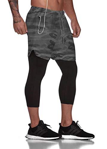 heekpek Short Sport Homme Short de Sport Jogging Short Legging Short Running Pantalon de Sport avec Poche 2 en 1 Short Double Couche, Camouflage Gris, XL