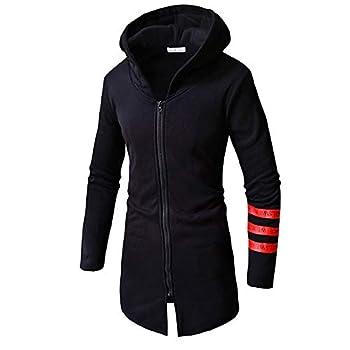 WUAI-Men Trench Coat with Hood Winter Lightweight Zipper Long Jacket Overcoat Cardigans Y-Black,X-Large
