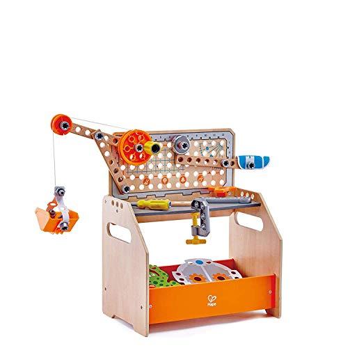 Hape E3028 - Tüftler-Arbeitstisch, MINT-Spielzeug, Experimentierset, Junior Inventor - Erfinden und Experimentieren
