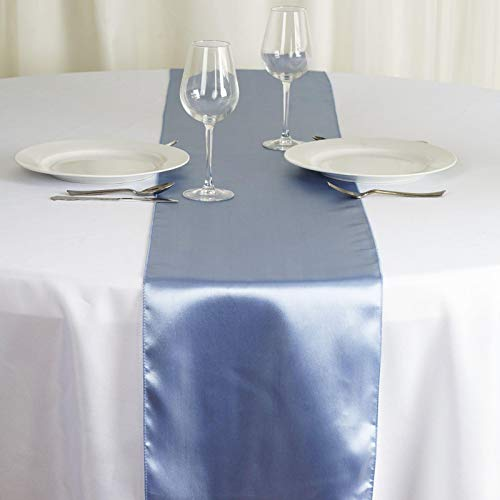 Tiger Chef 12-Pack Serenity Blue 12 x 108 inches Long Satin Table Runner for Wedding, Table Runners fit Rectange and Round Table Decorations for Birthday Parties, Banquets, Graduations, Engagements