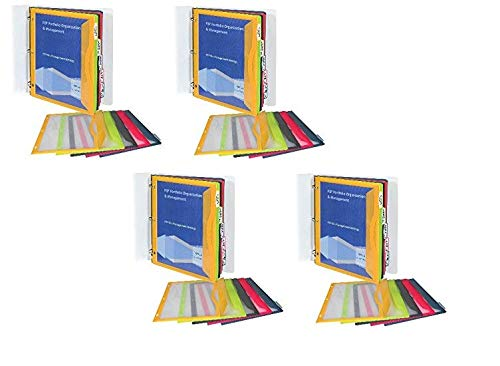 C-Line 5-Tab Binder Pockets with Write-On Index Tabs, Assorted Colors, 8.5 x 11 Inches, 5 Pockets per Set (06650) (4)
