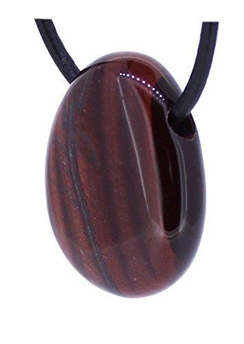 budawi® - roter Tigerauge (Katzenauge) Trommelstein Anhänger gebohrt mit Lederband