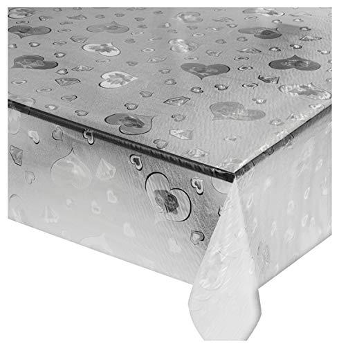 emmevi Mantel transparente antimanchas, varios tamaños, plastificado, PVC, protector de mesa, a medida, protector de mesa, mod. Lux (E) 140 x 100