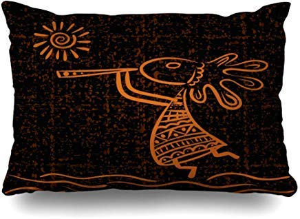 GFGKKGJFF0807 Kokopelli Anasazi Sun Ethnic God Flauta Vintage Player Aboriginal Africa diseño de fundas de cojín 40 x 60 cm para decoración del hogar, sofá, funda de almohada, funda de almohada de Navidad regalos de cumpleaños Idea