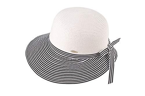 Miuno H287 - Cappello da sole pieghevole da donna, in paglia Nero Taglia unica