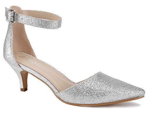MaxMuxun Court Dress High Heels Elegant Ladies Kitten Zapatos de tacón de Plata Talla 37 EU