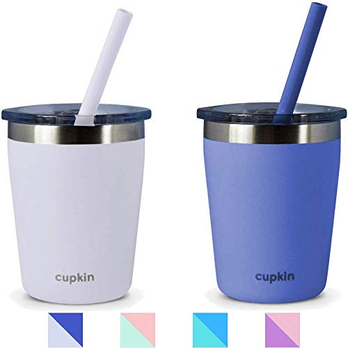 Stackable Stainless Steel Cups for Toddlers & Kids (Dishwasher Friendly) Set of 2 Powder Coated 8 oz Vacuum Insulated Tumblers, 2 Non BPA Lids and 2 Food Grade Reusable Silicone Straws (Gray + Blue)