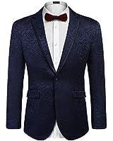 COOFANDY Men's Floral Print Suit Dress Suit Red Lapel Blazer Tuxedo Coat