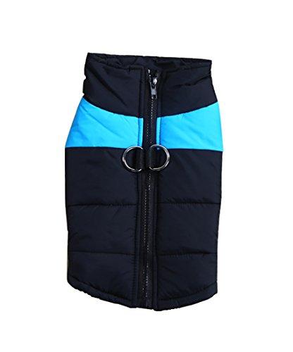 Neu Herbst Winter Haustier Hund Baumwolle Verdicken Kleider Zwei Beine Baumwolle Ski Anzüge 3 Farben 5 Größen (S, blau)
