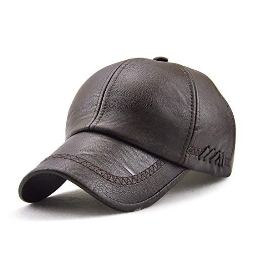 VCOROS Men Vintage PU Leather Adjustable Baseball Cap Low Dad Hat (12965 Dark Coffee)