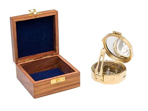 WYJW navigatieapparaat voor schepen, maritiem kompas met spiegel, doos van messing en hout