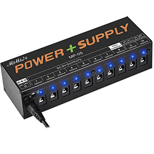 MIMIDI Guitar Pedal Power Supply, 10 DC Output Pedal Board Power for 9V/12V/18V 100mA 500mA Effect Pedal with Short Circuit Protection and Overcurrent Protection