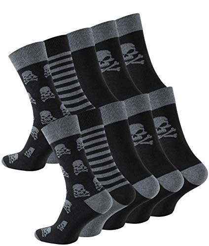 Cotton Prime 10 Paar Herren Socken Totenkopf, Skull Socks, Gemusterte Baumwollsocken, Gr. 39-42