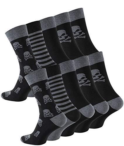 Cotton Prime 10 Paar Herren Socken Totenkopf, Skull Socks, Gemusterte Baumwollsocken, Gr. 43-46