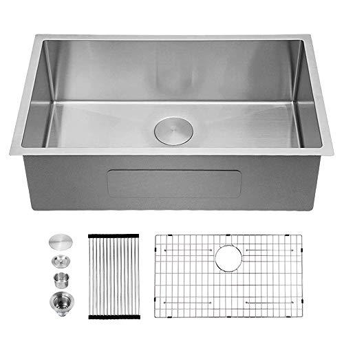 Undermount Kitchen Sink - Sarlai 32 Inch Undermount Stainless Steel 16 Gauge R10 Tight Radius Single Bowl Kitchen Sink Basin