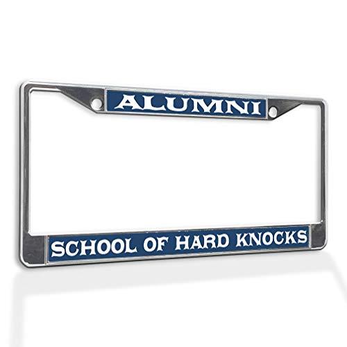 Fastasticdeals Metal Insert License Plate Frame Alumni School of Hard Knocks Funny Weatherproof Car Accessories Chrome 2 Holes Solid Insert