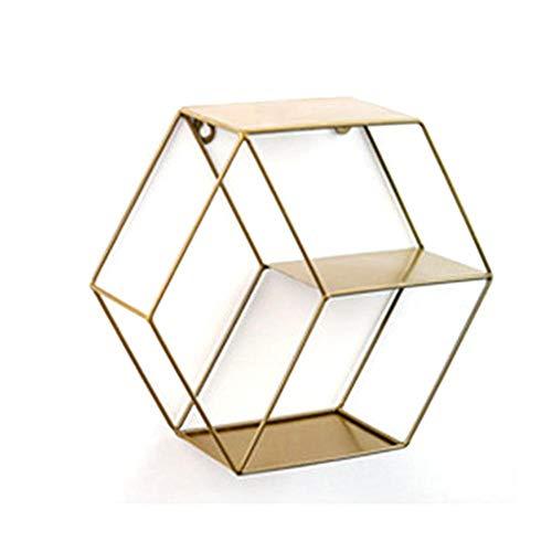 Hexagon Wandhalterung Hexagon Metall Schwimmendes Regal Wand-Korb Eisenregal Metallregal im Industrie Stil Wandregal für Wohnzimmer Schlafzimmer