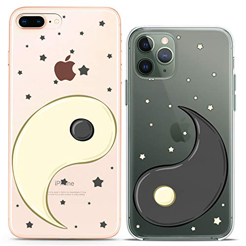 Cavka TPU Silicone Couple Cases for Apple iPhone 11 Pro Xs Max 6s 8 Plus 7 Xr SE X 5s Friends Yin Yang Soft Design Day Night Chinese Matching Cute Flexible Gift Slim fit Print Love Stars Lightweight