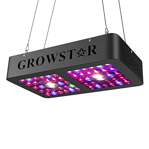 Cree COB LED Grow Light, Growstar 600W Reflector Series LED Plant Light Full Spectrum Dual Chip Grow Lamp with Daisy Chain for Indoor Plants Veg and Flower