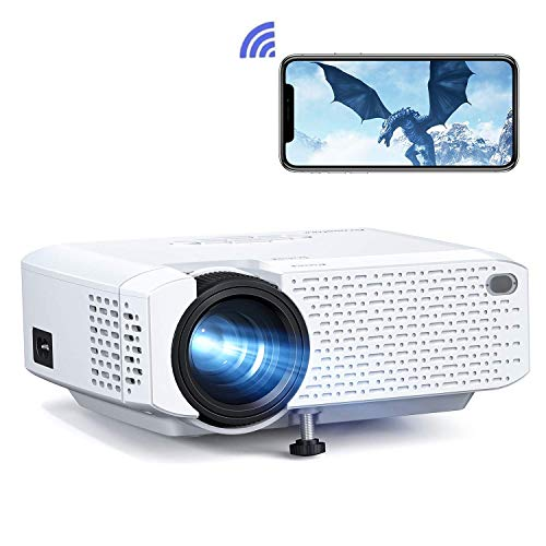 Beamer WiFi, Mini Wireless Beamer, tragbare Projektor LED-Heimkino-Unterstützung Full HD mit Fernbedienung, Kompatibel mit HDMI/USB/Android/iPhone/USB/Firestick/TV-Box