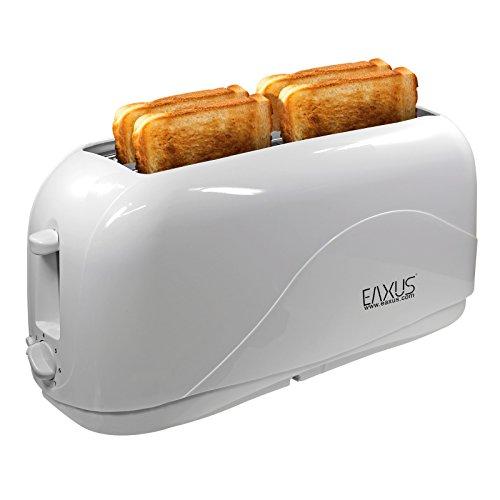Eaxus® 4-Scheiben Langschlitz Toaster - 1300 Watt, 7 Bräunungsstufen in Weiß