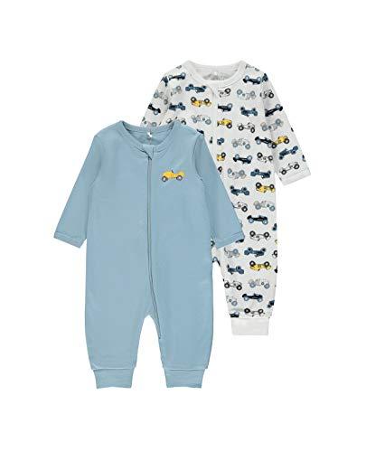 NAME IT Baby-Jungen Nbmnightsuit 2p Zip Dusty Blue Noos Kleinkind-Schlafanzüge, 80 (2er Pack)
