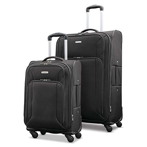 Samsonite Victory 2-Piece Nested Softside Luggage Set (Spinner 19/Spinner 29), Black, Checked...