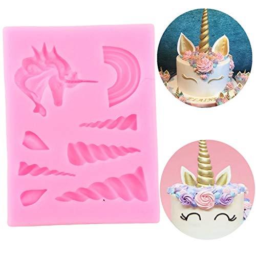 LNOFG Unicorn Cloud Horn Ear Silicone Mold Cake Baking Birthday DIY Cake Decoration Tool Candy Clay Chocolate Mold