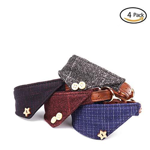 GDDYQ Hond Kraag, Engels Stijl Driehoek Sjaal Kraag Verstelbare Maat Mode Hond Ring, 4 stuks