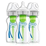 Dr. Brown's Options+ Wide-Neck Glass Baby Bottles, 9 Ounce, 3 Count
