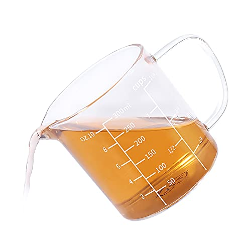 77L Glass Measuring Cup, Clear Liquid Measuring Cup with V-Shaped Spout and Three Scales, High Borosilicate Glass Beaker with Handle for Kitchen or Restaurant, 300 ML (0.3 Liter, 1 1/4 Cup)