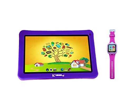 LINSAY New F7KPWP 7' Kids Tablet Purple Bundle with 1.5' Smart Watch Kids Cam Selfie Pink up to 32GB