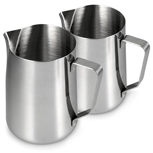 YOUZiNGS - Bricco per il latte in acciaio INOX, set da 2, 900 ml, montalatte, schiumalatte e bricco per montalatte, barista, caffè, colore: Argento lucido