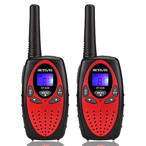 Retevis RT628 Walkie Talkie Kinder PMR446 8 Kanäle VOX Kinder Funkgeräte mit LCD Display Kinder Geschenke Spielzeug für Camping Reisen Spielplätze Abenteuer usw. (1 Paar, Rot)
