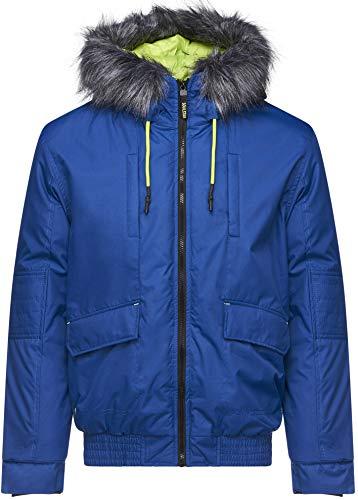 Soulstar Herren Designer Winter Wattierte Jacke mit Kapuze mit Fell Oberbekleidung Parka Mantel Gr. S, blau