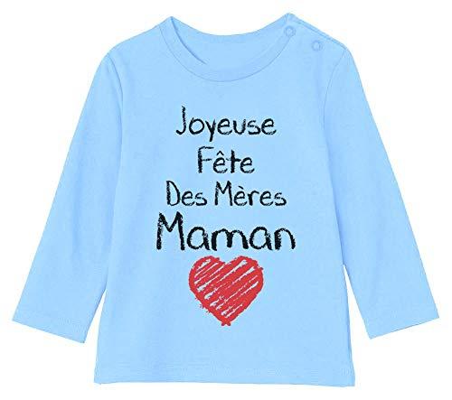 Joyeuse Fête des Mères Maman Cadeau Maman T-Shirt Bébé Unisex Manches Longues 3-6M 60/66cm Bleu Ciel