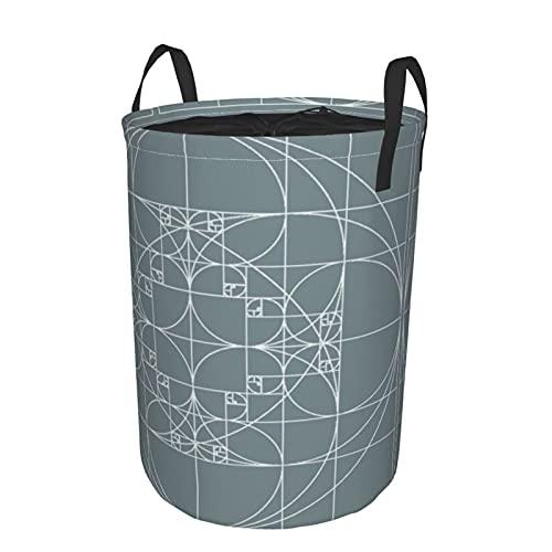 Cesto de lavandería redondo,patrones de proporción áurea de Fibonacci,geometría sagrada,secuencia de oro en espiral 1.618,cesto de lavandería plegable impermeable con cordón,21.6'X16.5'