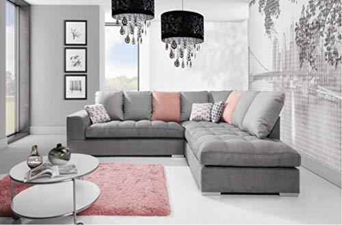 Sofá cama esquinero Roberto – Tela gris – Cojines rosados – Cojines Scatterback – Entrega rápida