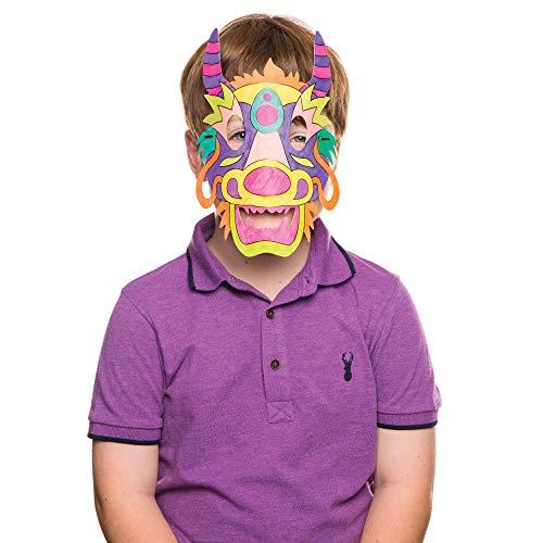 """Baker Ross Masken zum Ausmalen """"Drachen"""" (8 Stück) – für Kinder zum Verzieren und Verkleiden"""