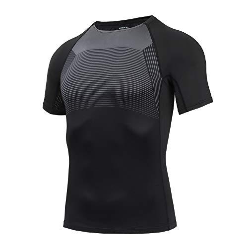 AMZSPORT Herren Kurzarm Kompressionsshirt Mesh-Design Laufshirt Funktionsshirts - Schwarz M
