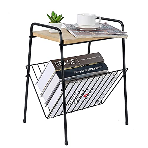 TFer Small End Table 2-Tier Modern Side Table with Storage Wood and Metal Nightstand Organizer Boho Narrow Slim Coffee Table for Kitchen, Bed Room, Living Room Sofa   Entryway Accent Farmhouse Table
