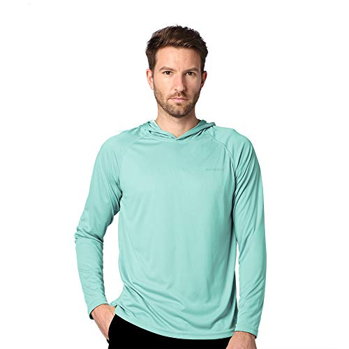 Ogeenier Protección Solar UV para Hombre UPF50+ Camiseta de Manga Larga con Capucha