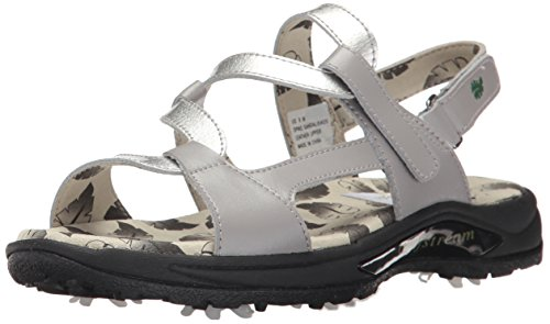 Golfstream Shoes Womens Spike Sandal, Gray/Crystal Silver, 6 M US