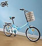 Faltrad Damenfahrrad 16inch 20'' Stadtfahrrad Komfortables Singlespeed mit Korb + Ablage, tragbares leichtes Fahrrad Unisex Studentenfahren(Color:Blue,Size:20'')